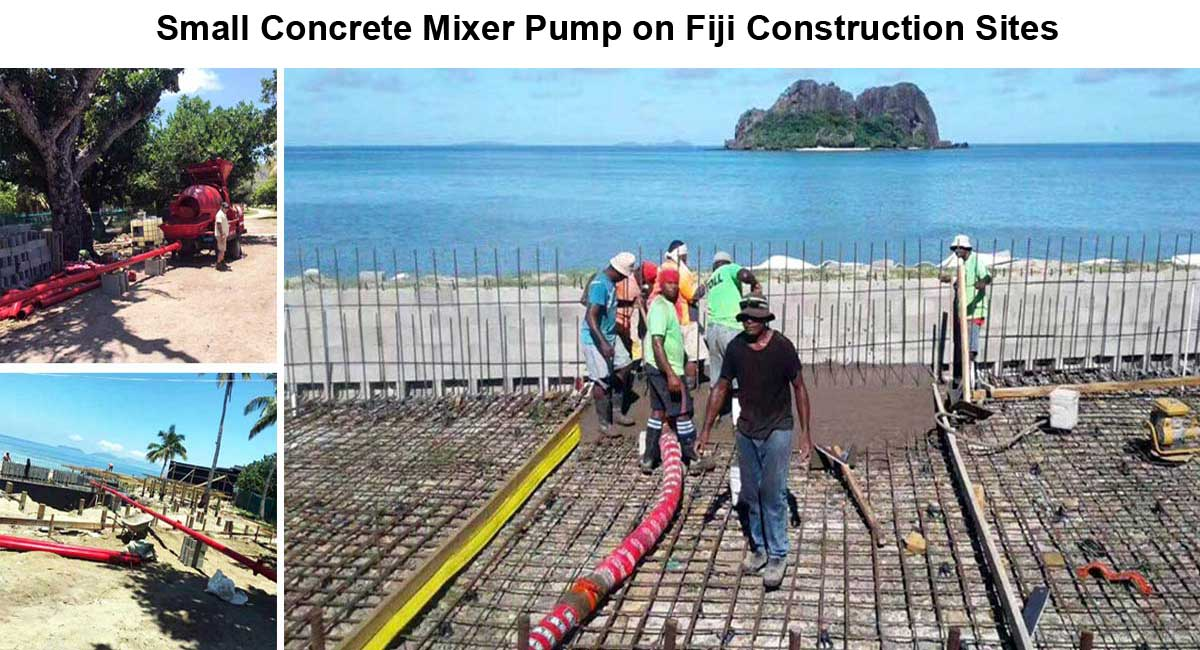 Small concrete mixer pump on construction site