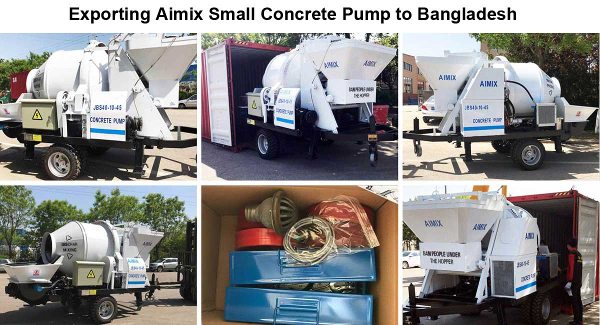 Transporting small concrete mixer pump to Bangladesh
