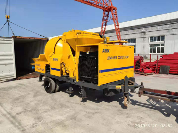 loading concrete mixer pump
